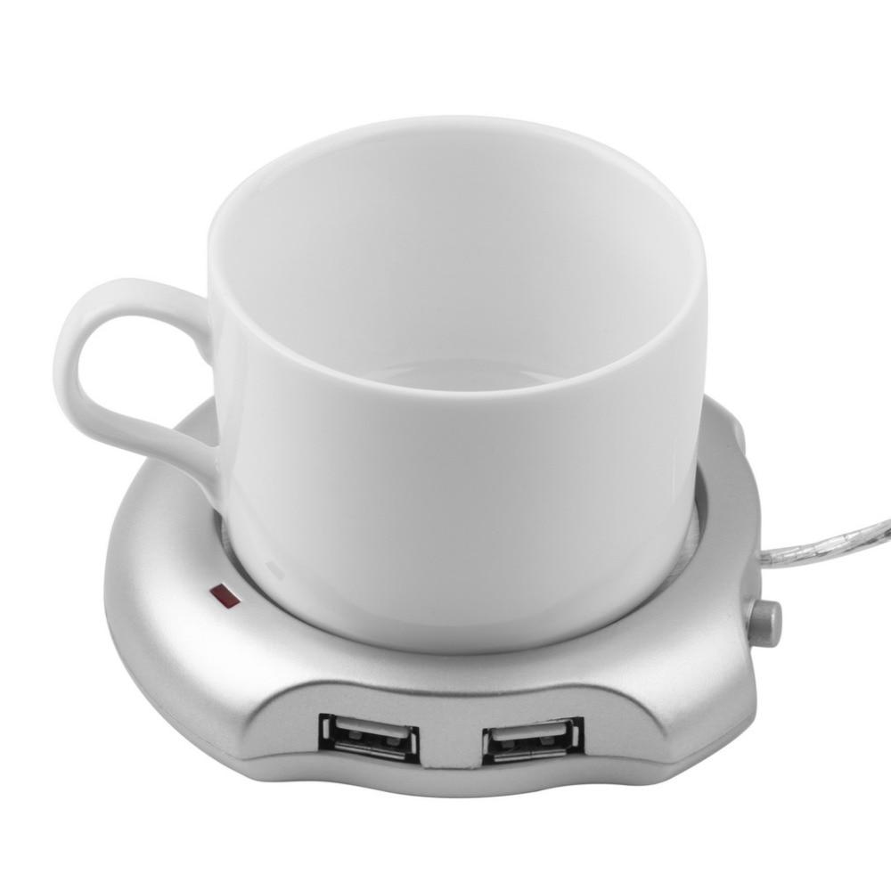 Silver 4 Port USB Hub + Tea Coffee Beverage Cup Electric Warmer Heater 2.5W 5V High Quality