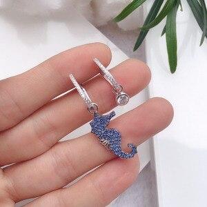 Image 2 - SLJELY boucles doreilles AB en argent Sterling 925 véritable, bleu, asymétriques, Micro pierres en zircone cubique, bijoux de fête, pour femmes