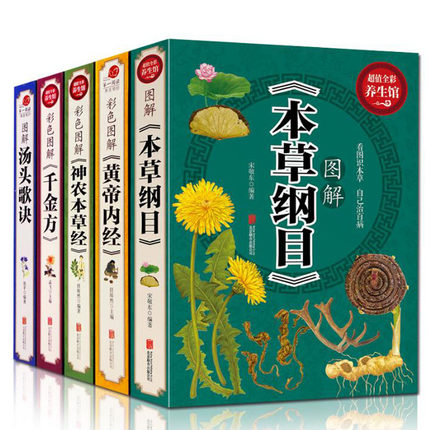 5pcs Chinese Medicine Book Illustration With Translatation Compendium Of Materia Medica/ Inner Canon Of The Yellow Emperor