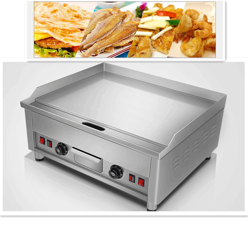 цены 220V Commercial Electric Grill Griddle Stainless Steel Dorayaki Teppanyaki Machine 16MM Plate Double Temperature Control