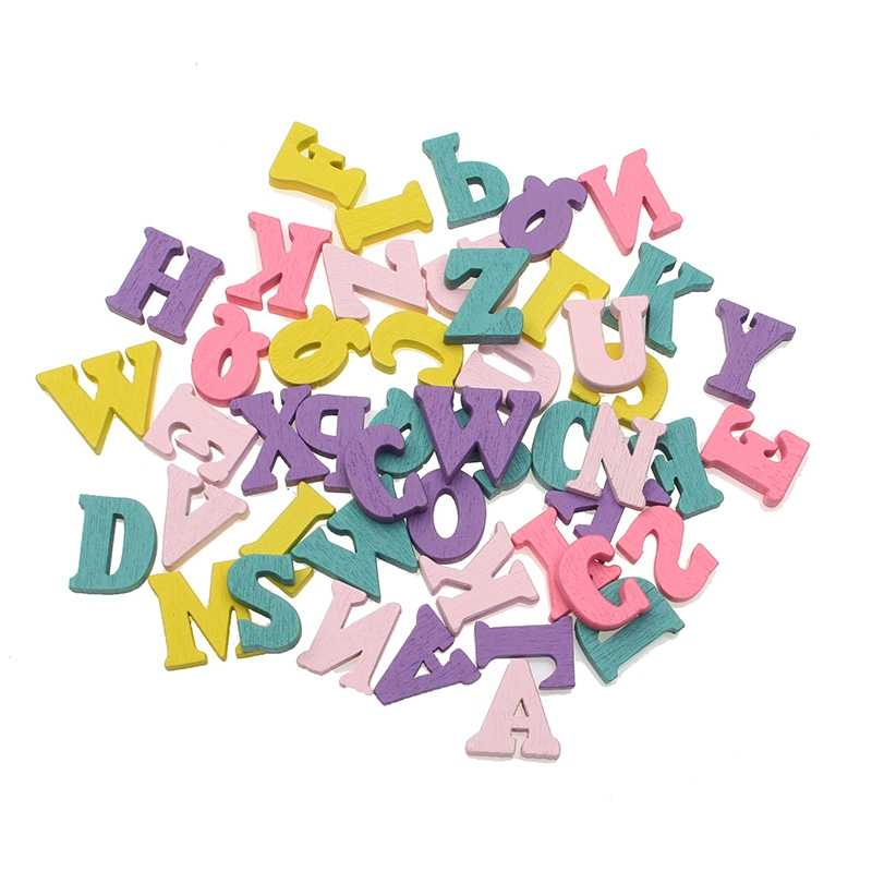100Pcs צבעוני מכתב עץ קישוט מלאכות Flatback חרוזים קרושון Scrapbook DIY קישוטים אבזרים