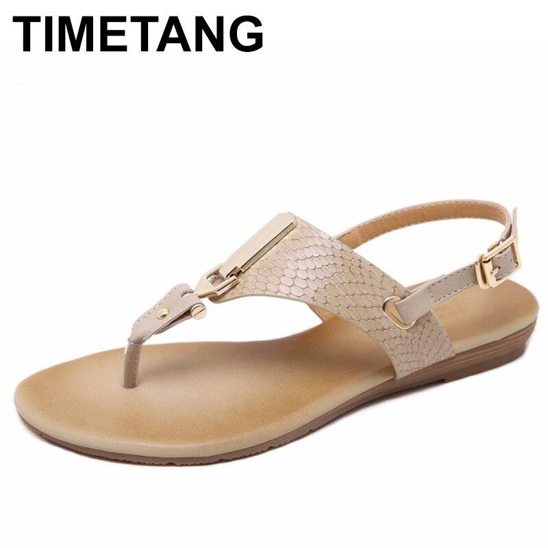 TIMETANG New Korean Comfortable Metal Decoration Buckle Strap Women Sandals Clip Toe Flat Shoes Sandals Shoes 2016 korean flat toe sandals are sparkling sandals