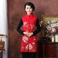 Nuevo otoño de la llegada invierno mujeres tradicionales chinos de algodón de lino bordar flor chaleco ml XL XXL MTJ20150068