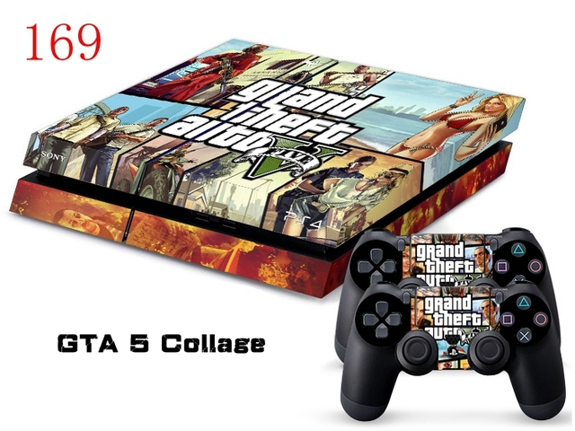 Oststicker gta 5 collage wrap decal cover for ps4 vinyl sticker for ps4 console and controller