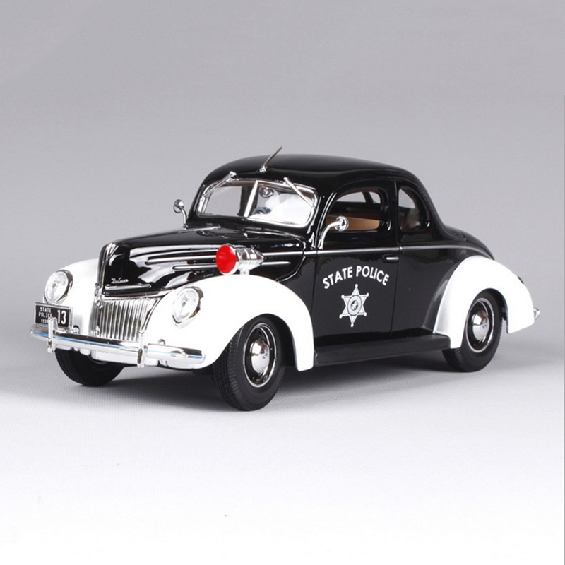 1:18 Ford 1939 Deluxe Police Car Black Zinc Alloy Car Model Diecast for Collections Toys For Boys Gifts Displays 2013 1 18 ford mondeo fusion diecast model car alloy model car hobby stores cars for sale aluminum die casting products
