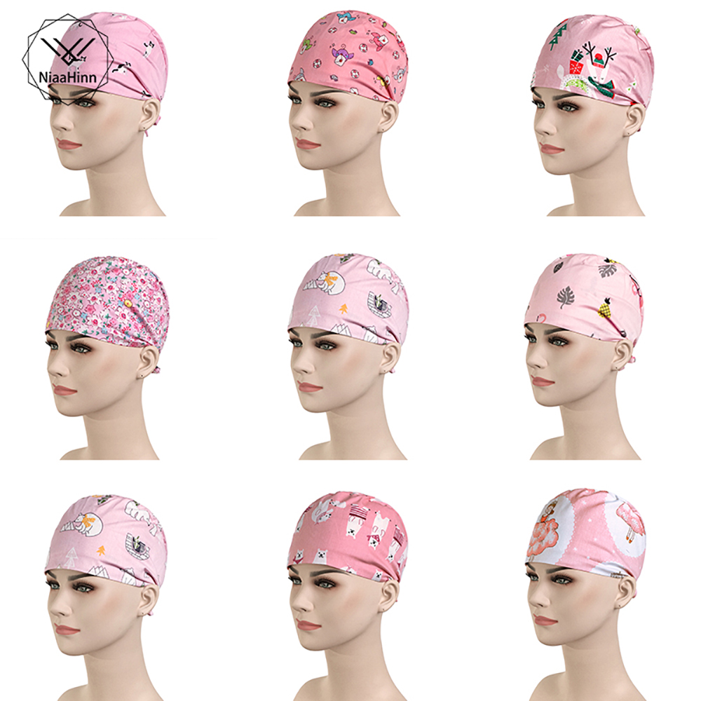 New Doctor Surgical Caps Cute Print Scrub Cap Pet Grooming Pharmacy Work Cap Cotton Medical Use Accessories Dentistry Nurse Hats