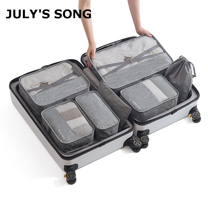 7pcs/set Men Travel Bags Sets Waterproof Packing Cube Portable Clothing Sorting Case Women Luggage Organizer Bag Accessories