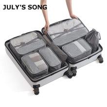 7pcs/set Men Travel Bags Sets Waterproof Packing Cube Portab