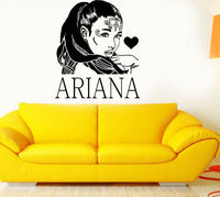3d poster R&B Singer Star Ariana Grande DIY Wall Art Sticker Baby Wall Decal Custom Color Vinyl Wall Stickers For Girl Room