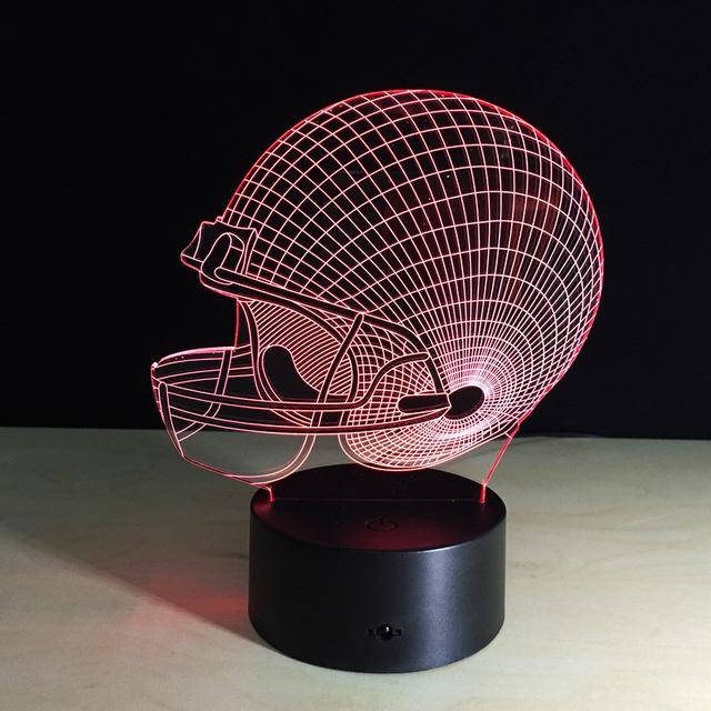 1 unids EE. UU. casco de fútbol marco de la pantalla Táctil 3D ilusión Led flash de luz de juguete.