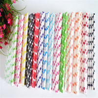 Disposable Party Supplies 19.7cm Polka dot Paper Straws for Wedding Anniversary Supplies