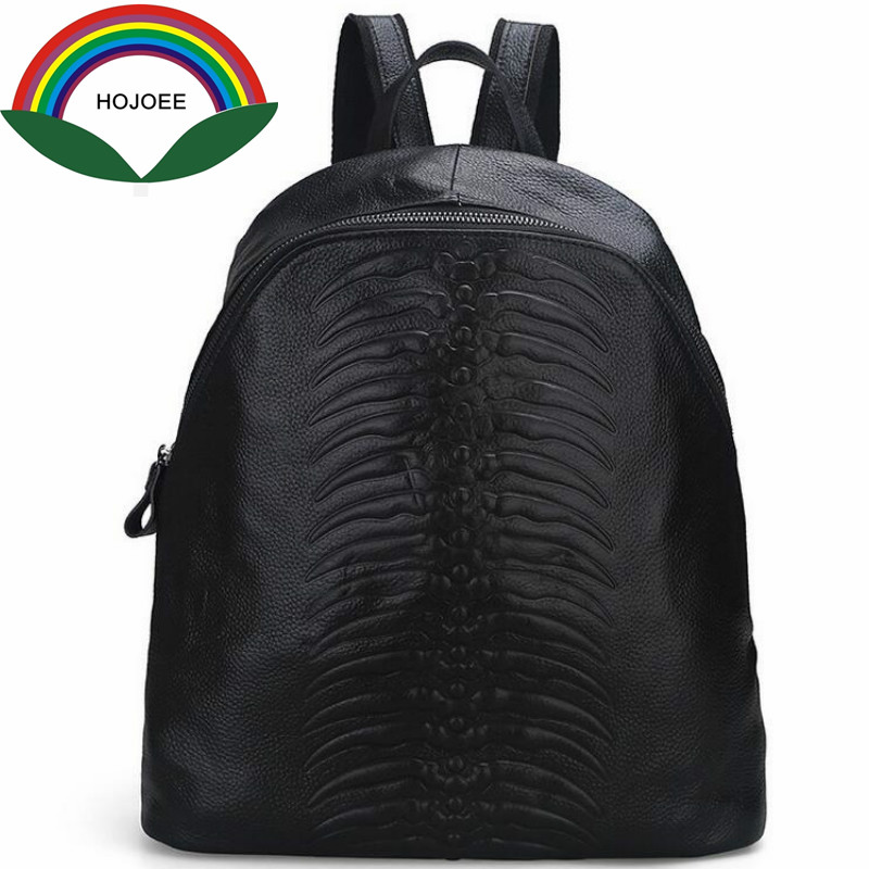 2017 Embossing backpack genuine leather backpack female cow leather women s casual travel big bag vintage