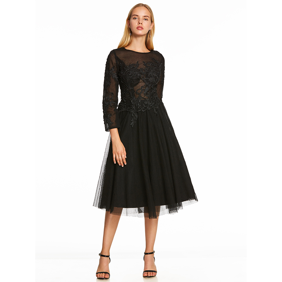 Dressv Scoop Neck Cocktail Dress Black Long Sleeves Appliques Tea Length A Line Homecoming Short Cocktail Dresses