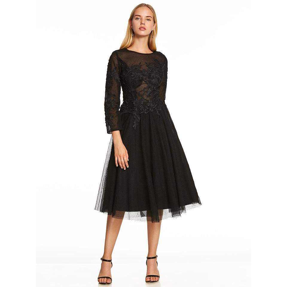 Dressv Scoop Neck Cocktail Dress Black Long Sleeves Appliques Tea Length A Line Homecoming Short Cocktail Dresses