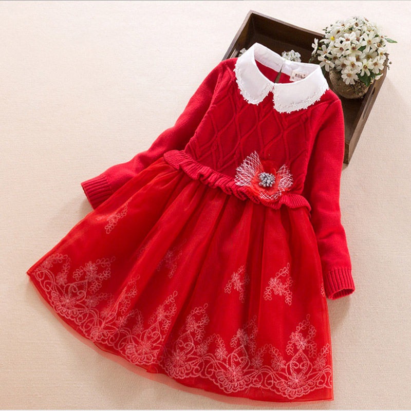 все цены на Baby Girl Dress 2017 new spring winter long sleeve kids dresses for girls clothes cotton fall children clothing 5 8 9 years old