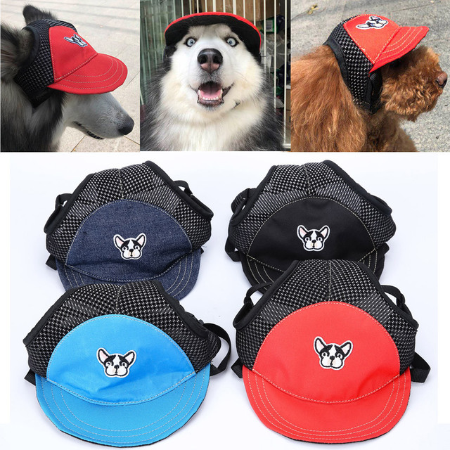 88ca23e4 US $2.63 45% OFF Pet Cat Dog Hat Summer Baseball Hats Adjustable Canvas Cap  Outdoor Cute Sunbonnet Accessories For Small Large Dogs S M L F627-in Dog  ...