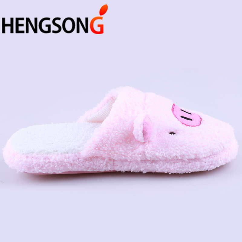 Nova Adorável Porco Bonito Forma Das Mulheres Flip Flop Sapatos Meninas Inverno Piso Casa Macio Chinelos Tarja Feminino Primavera Quente Sapatos