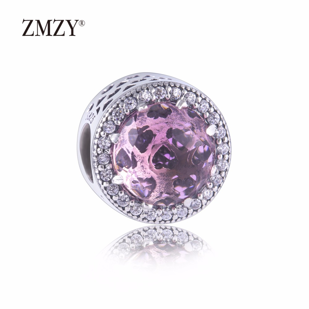 ZMZY Authentic 925 Sterling Silver Charms Abstract Pink Cubic Zirconia Charm Beads Fits Pandora Charm Bracelet Making