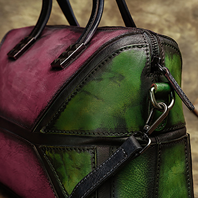 2017 Vintage Genuine Leather Women Handbag Handmade Cow Leather Top Handle Bag Mix Pink Green Shoulder Messenger Bag