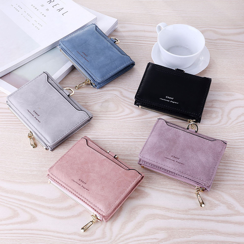 Porte feuille femme women 39 s wallet matte retro simple style casual fashion zipper card bag purse small bag in Wallets from Luggage amp Bags