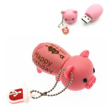 (over 10 PCS) Free LOGO customized USB Flash Drive Cute Pig USB Flash Drive U Disk to  8GB 16GB 32GB Memory Stick flash Pendrive