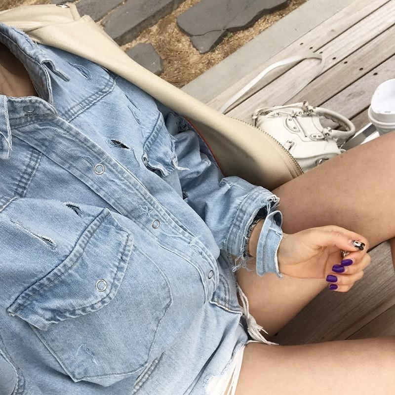 Cowboy Femelle À Limitée Brossé Taille Bleu Rétro 2018 La Laver Complet Blusas Plus Chemise Revers Printemps Blouse Trou Nouveau Manches Lâche Longues Cassée 1wTWa