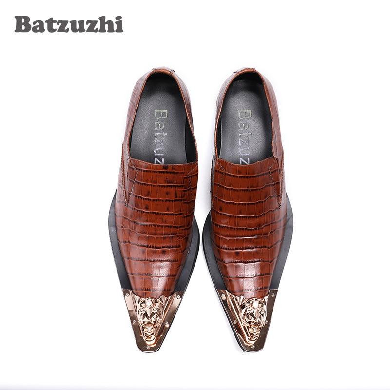 Ouro Dedo Negócios Vestido Luxo Artesanal Sapatas Eu46 Sapatos Oxfords Se De Homens 1 Formais 2 Metal Us12 Calçados Couro Vestem Do Model model Pé Dos Marrom 7Yxfqz7