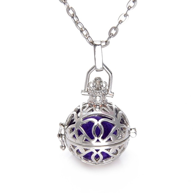 10Pcs Silver Rhodium Hollow Cage Diffuser Locket Necklaces For Essential Oil Necklace
