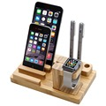 YF-904 Multi-function Cellphone Holder Natural Bamboo Wood Charge Station Charging