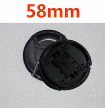 30 stks/partij 58mm center pinch Snap on cap cover LOGO voor nikon 58mm Lens