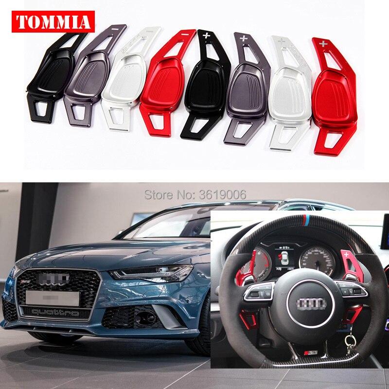 Tommia 2 pièces volant aluminium changement palette manette de vitesse rallonge pour Audi RS6 2015-2016 voiture-style