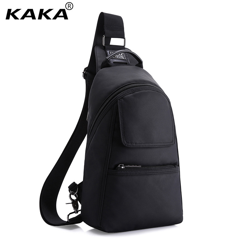 KAKA Brand Korean Style Unisex Men Fashion Messenger bags 100% waterproof Oxford Chest Shoulder Bag Leisure Packs for Ipad Black