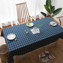 Nordic Solid Blue Jacquard Tassel Table-Cloth Cotton Polyester Plaid Table Cloth Dining Cover Waterproof Home Decoration