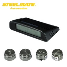 Steelmate TP-S1 DIY TPMS Tire Strain Monitor System Automotive Alarm System Diagnostic Software Wi-fi Photo voltaic-powered Show four Sensors