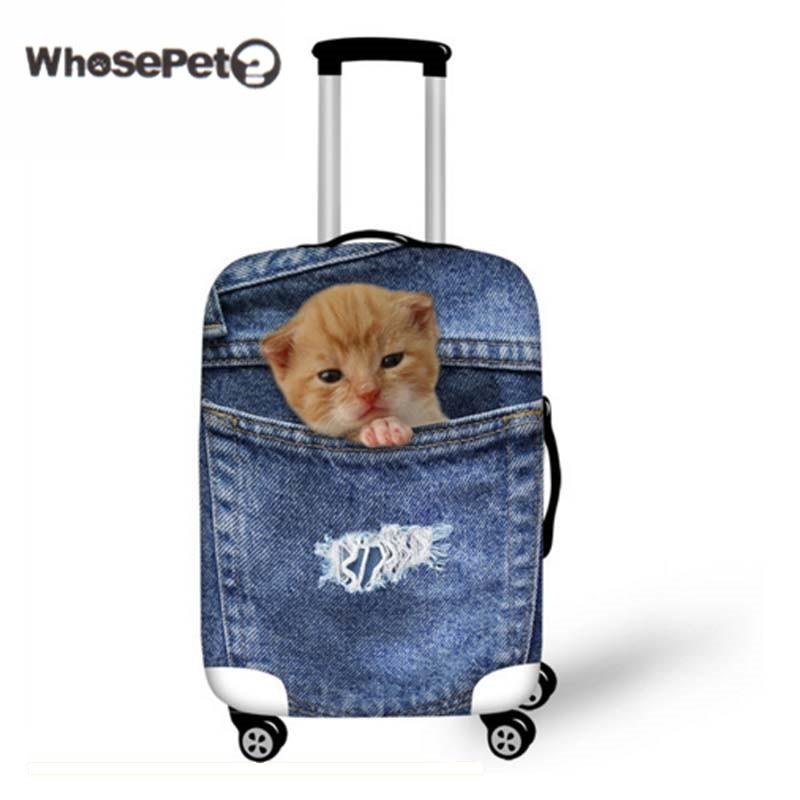 WHOSEPET 3D Cowboy Katze Dicke Elastische Staubschutzabdeckungen für Reise Niedlichen Hund Fall Abdeckung für Trolley Koffer Koffer Demin New