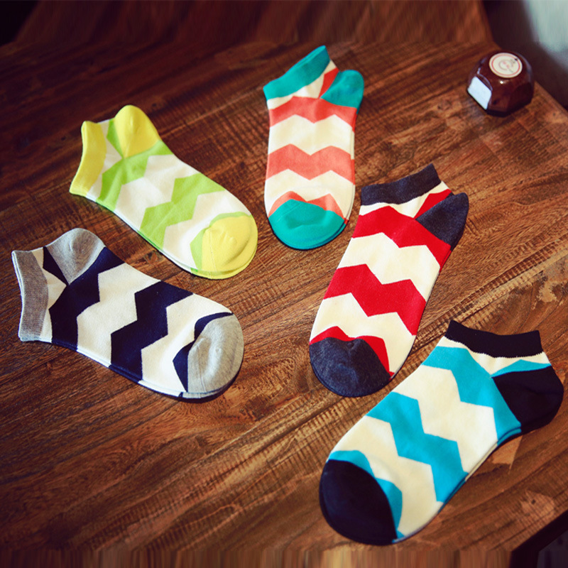 Lucidity Wave Pattern Socks Fashion Mans Cotton Socks Summer Men Boat Casual Invisible Socks Dress Male 5pair/lot