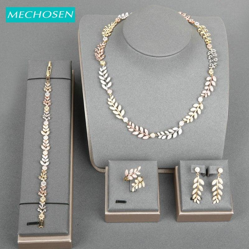 MECHOSEN Shiny Leaf Shape Jewelry Set Plant Necklace Ring Earrings Bracelet Zircon Set For Bride Wedding High Quality Best Gifts