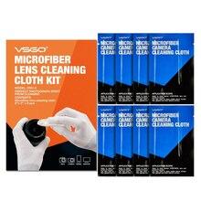 Профессиональный набор из 8 салфеток для чистки линз VSGO из микрофибры для SLR DSLR объективов камер микроскопов телескопов и очков.