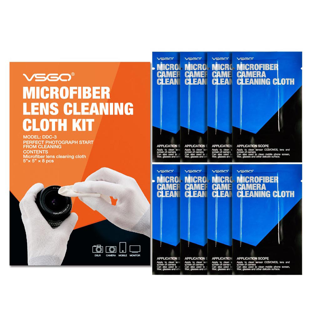 Profesjonell VSGO Brand 8pcs Pack Microfiber Lens Cleaning Cloth Kit For SLR DSLR Camera Lens Mikroskop Teleskop Og Glass.