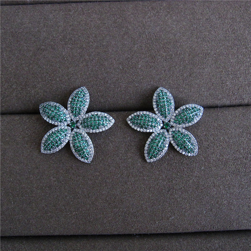 Fashion women jewelry,AAA cubic zirconia green stones flower shaped big stud earrings, E4169