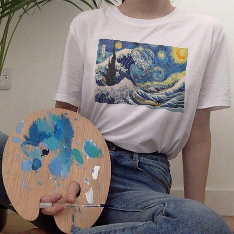 Ukiyoe Vincent Van Gogh Print Tshirt Harajuku Aesthetic Clothes Women Short Sleeve Tee Art Top Vintage Japanese Style Streetwear(China)