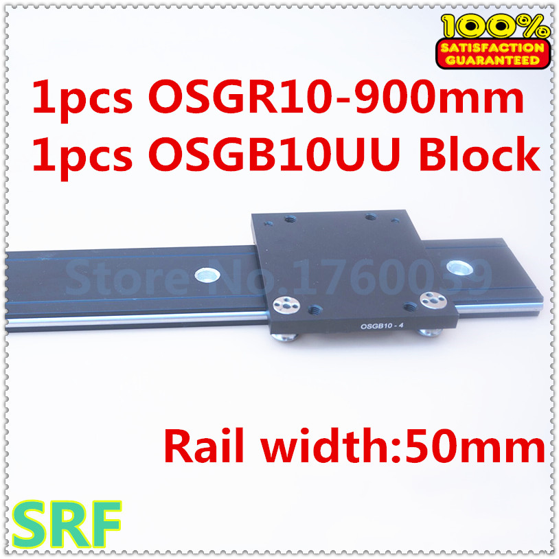 50mm width  Aluminum roller linear guide rail external dual axis linear guide 1pcs OSGR10 L=900mm+1pcs OSGB10 block 7mbr25sa120 50 1pcs