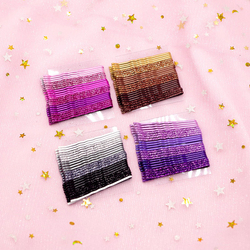 18-24PCS/Set Glitter Candy Color Hair Clips Bobby Pins 5CM Curly Wavy Alloy Hairpins Women Girls Shiny Barrette Hair Accessories
