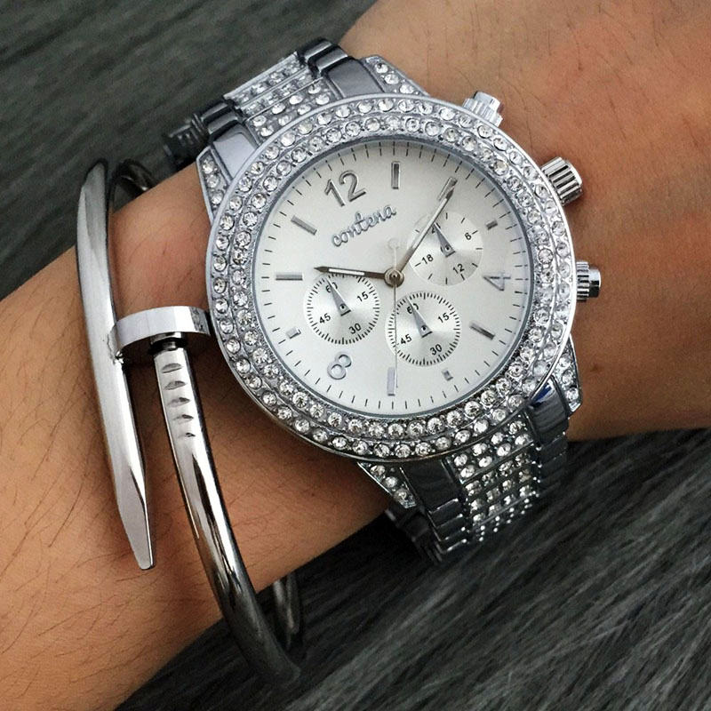 New 2017 Fashion Casual Clock Silver Bracelet Watch Women Rhinestone Watches Women's elegant Quartz Wrist Watch relojes mujer brand new 2016 fashion ladies casual watches rhinestone bracelet watch women elegant quartz wristwatch silver clock
