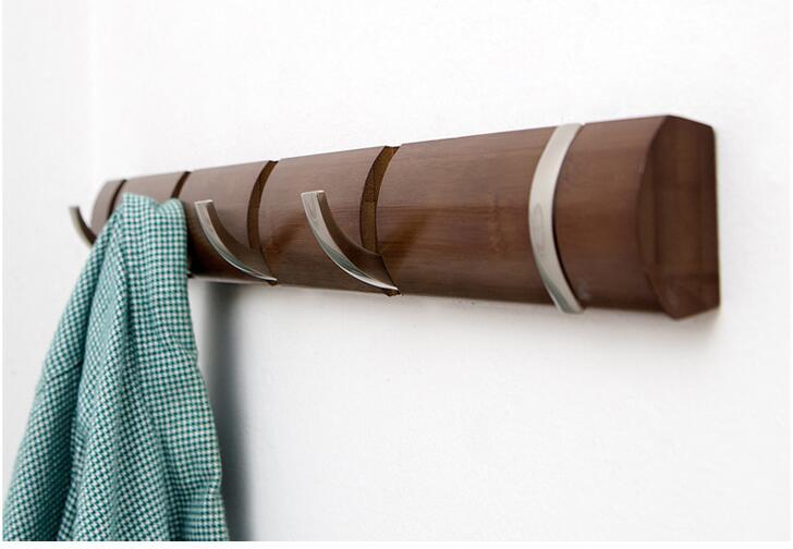 48.5CM Bamboo Wall Clothes Hook Multi-Function Bathroom Hook Door Coat Rack Wardrobe Storage Hanger