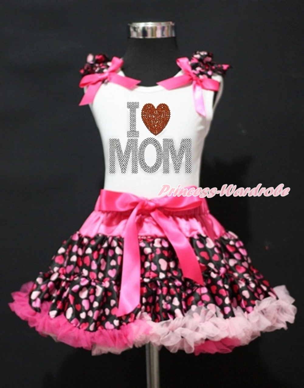 Mommy's day White Top Rhinestone Mother's Day Love Heart Hot Pink Heart Girl Skirt 1-8Y MAPSA0012 rhinestone happy easter white top shirt hot pink bunny rabbit satin trim baby girl skirt set 1 8y mapsa0494
