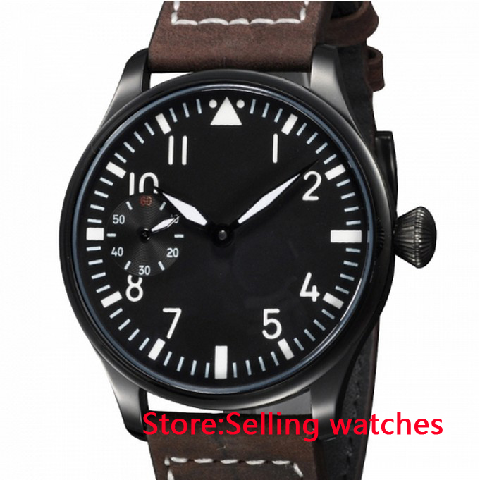 44mm Black Dial PVD Case White Number Asian 6497