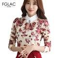 Весна Прибытия женщины блузка рубашка мода Элегантный тонкий длинными рукавами сгущает кружева рубашки Плюс размер женщин clothing печати блузки