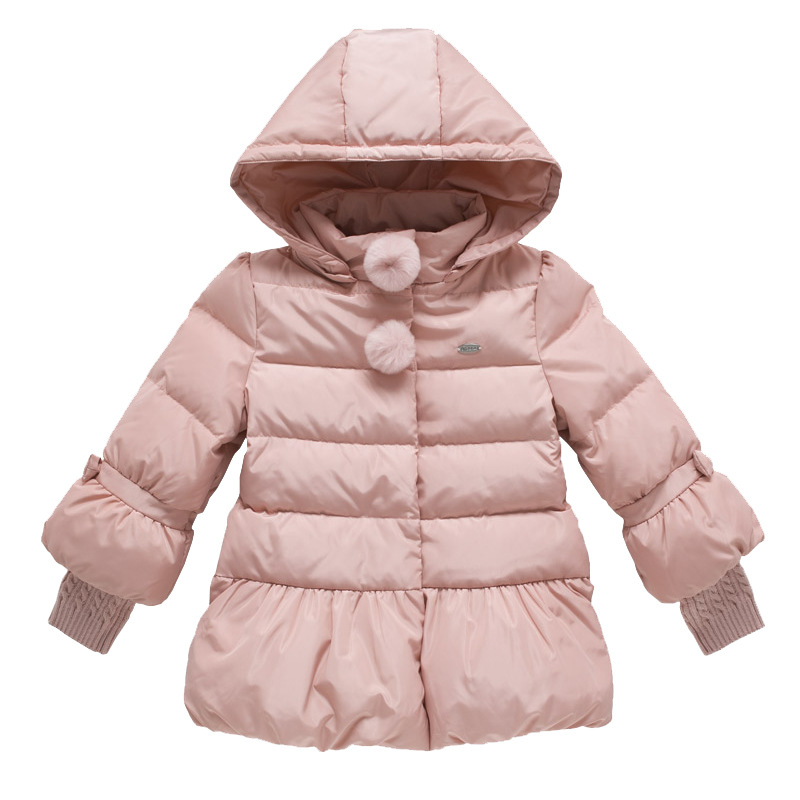 ФОТО 2016 Fashion Casual Children'S Clothing Zipper Baby Toddler Girls Hooded Coat Outerwear Jacket White Duck Down Winter Jacket Kid