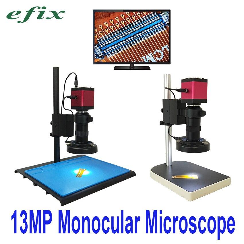 efix 13MP HDMI VGA HD Monocular Microscope Digital Camera C Mount lens 56 LED Ring Light